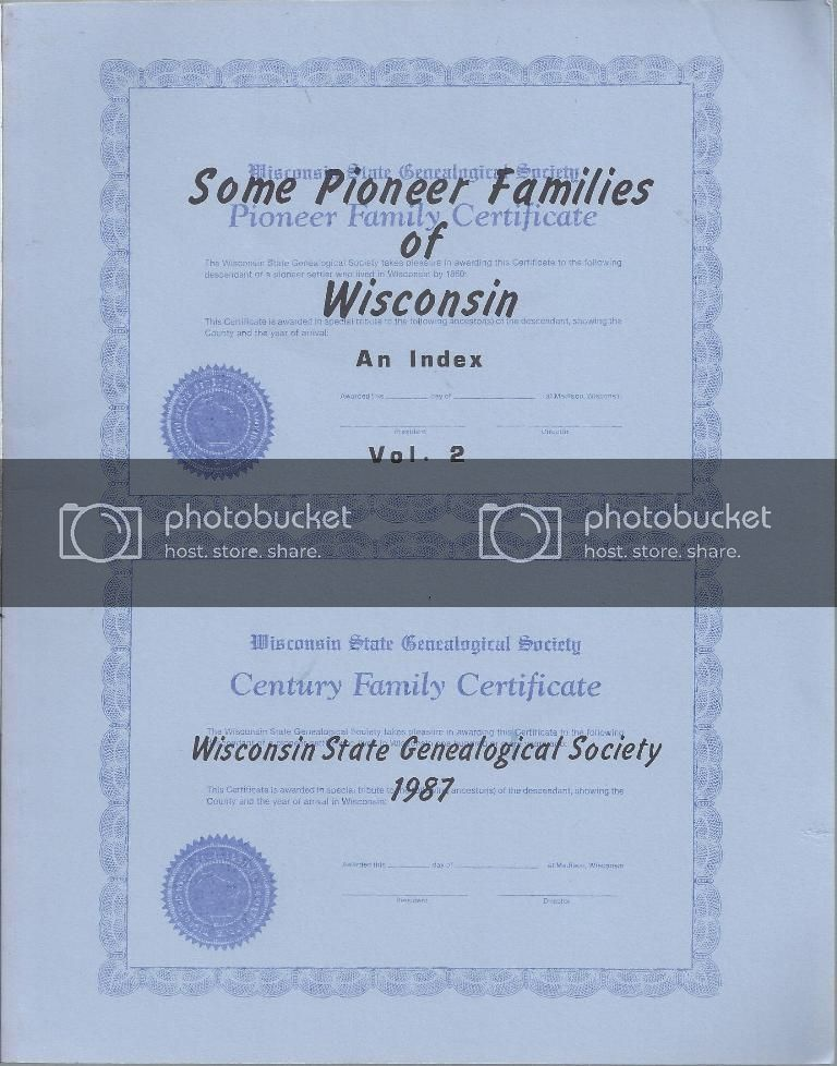 Image for Some Pioneer Families Of Wisconsin An Index Vol. II